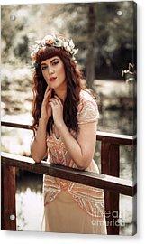 Woman Leaning On Rail Of Wooden Bridge Acrylic Print