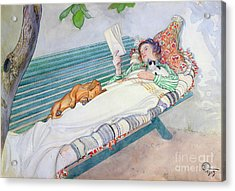 Woman Lying On A Bench Acrylic Print by Carl Larsson