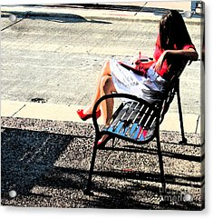 Woman On A Bench Acrylic Print by Gary Everson
