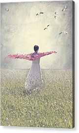 Woman On A Lawn Acrylic Print