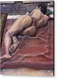 Woman On Blanket Acrylic Print by John Clum