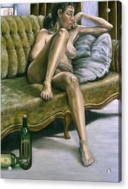 Woman On Green Sofa Acrylic Print by John Clum