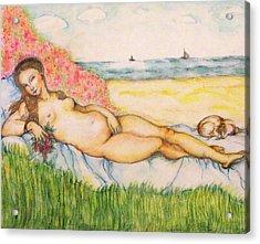 Woman On The Beach Acrylic Print by Hye Ja Billie