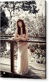 Woman On Wooden Bridge Acrylic Print