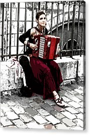 Woman Playing Accordion Acrylic Print