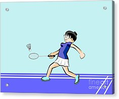 Woman Playing Badminton On A Blue Synthetic Floor Court Acrylic Print
