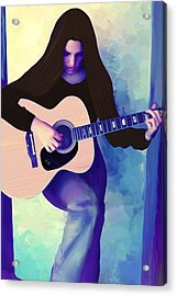 Woman Playing Guitar Acrylic Print