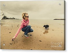 Woman Playing With Dog Acrylic Print