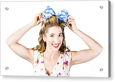 Woman Playing With Hair Tie. Retro Accessories Acrylic Print by Jorgo Photography - Wall Art Gallery