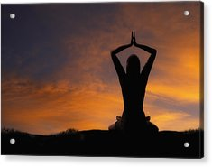 Woman Practicing Yoga Acrylic Print by Utah Images