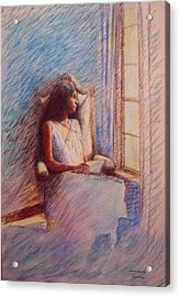 Woman Reading By Window Acrylic Print