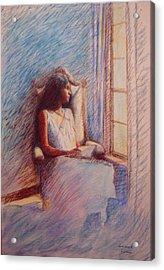 Woman Reading By Window Acrylic Print by Herschel Pollard