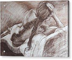 Woman Reclining Acrylic Print by Harry Robertson