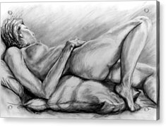 Woman Resting Acrylic Print by John Clum