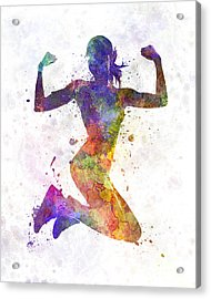 Woman Runner Jogger Jumping Powerful Acrylic Print by Pablo Romero