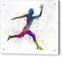 Woman Runner Running Jumping Acrylic Print by Pablo Romero