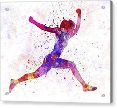 Woman Runner Running Jumping Shouting Acrylic Print