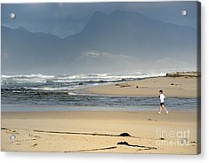 Woman Running In The Morning By Flamingo Lake Estuary Acrylic Print by Sami Sarkis