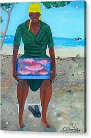 Acrylic Print featuring the painting Woman Selling Red Snapper by Nicole Jean-louis