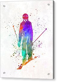 Woman Skier Skiing Jumping 01 In Watercolor Acrylic Print
