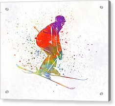 Woman Skier Skiing Jumping 02 In Watercolor Acrylic Print