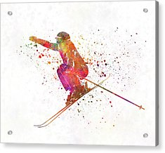 Woman Skier Skiing Jumping 03 In Watercolor Acrylic Print