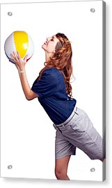 Woman Throwing Beach Ball On White Background Acrylic Print