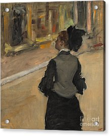 Woman Viewed From Behind, Visit To The Museum Acrylic Print by Edgar Degas