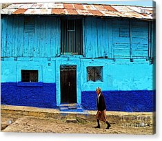 Woman Walking By The Blue House Acrylic Print by Mexicolors Art Photography
