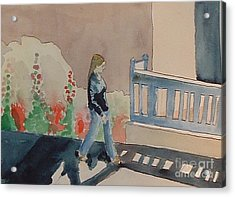 Woman Walking Down Nusbaum Street Acrylic Print