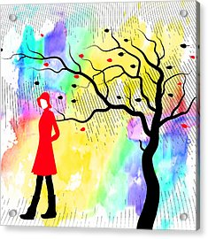 Woman Walking In Blustery Fall Rain With Colorful Watercolor Background Acrylic Print by Serena King