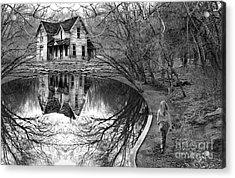 Woman Walking To Old House Acrylic Print by Jill Battaglia