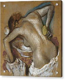 Woman Washing Her Back With A Sponge Acrylic Print by Edgar Degas