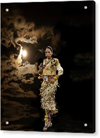 Woman Who Dances With Moon Acrylic Print by Irma BACKELANT GALLERIES