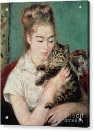Woman With A Cat Acrylic Print by Pierre Auguste Renoir