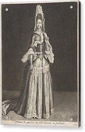 Woman With A Fan And Stein Kerke Tie, Peter Schenk I, After Jean De Saint-jean, 1694 Acrylic Print