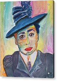 Acrylic Print featuring the painting Woman With A Hat by Carol Duarte