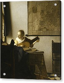 Woman With A Lute Near A Window Acrylic Print
