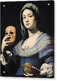 Woman With A Mask Acrylic Print by Lorenzo Lippi