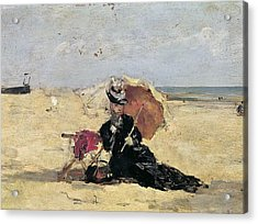 Woman With A Parasol On The Beach Acrylic Print by Eugene Louis Boudin