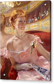 Woman With A Pearl Necklace In A Loge Acrylic Print