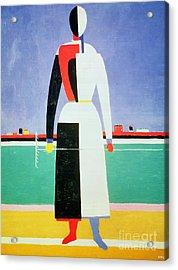 Woman With A Rake Acrylic Print by Kazimir Severinovich Malevich