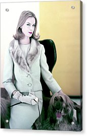 Woman With Afghan Dog Acrylic Print by Henry Clarke