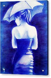 Woman With An Umbrella Blue Acrylic Print