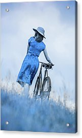 Woman With Bicycle In Field Acrylic Print