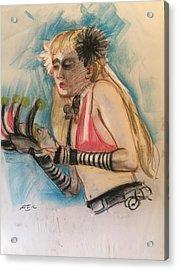 Woman With Black Flower Acrylic Print by Alejandro Lopez-Tasso