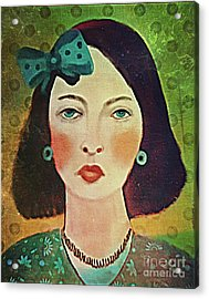 Woman With Blue Hair Bow Acrylic Print by Alexis Rotella