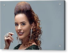 Woman With Bouffant With Long Curly Hair Rolled Back Acrylic Print