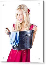 Woman With Bucket And Rubber Gloves Acrylic Print