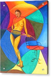 Woman With Chair Acrylic Print by Mak Art
